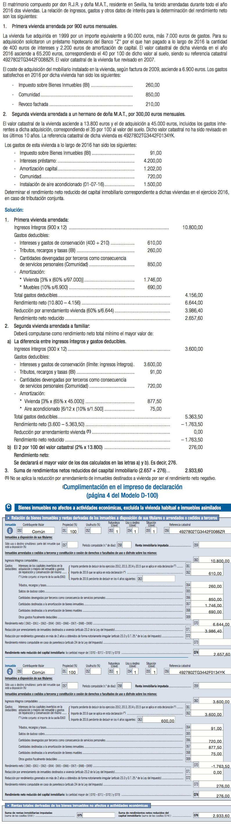 Caso práctico caseros - Alquiler en la Renta 2016